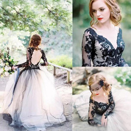 Vintage Latest Black Lace White Ivory Champagne Tulle Wedding Dresses Sexy V Neck Backless Illusion Long Sleeves Gothic Bridal Gowns