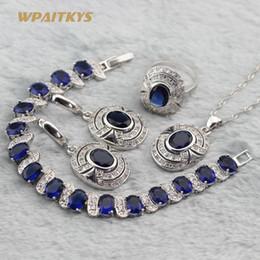 Dark Blue Women Jewelry Sets - Wholesale Oval AAA Zircon Silver Plated Necklace Earrings Ring Bracelet For Women Rings Size 6-10