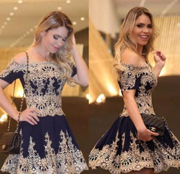 Gold Lace Short Party Prom Dresses For Girls A line With Sleeves A line Satin Navy Off the shoulder Cheap Homecoming Formal Dress
