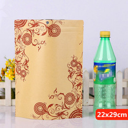 22x29cm printing stand kraft paper laminating aluminum foil ziplock packaging bags mylar food tea baking reusable heat sealing package pouch