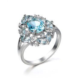 Real Promotion Cluster Rings 8 Rings 2 Pcs Lot Trendy Oval Fire Sky Blue Topaz Gemstone 925 Sterling Silver Ring Wedding Jewelry Gift