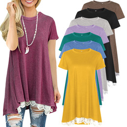 Large size professional T-shirt, ladies' dress, big hem, short sleeves, round necktie splicing, lace, medium length, pure color T-shirt.