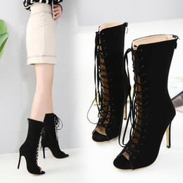 Hot selling new High quality new Woman High Heels Women's Gladiator Sandals Shoes Woman Suede Fashion Lace-Up High Heel Shoes Peep Toe Shoes