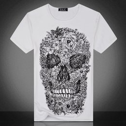 Summer simple pattern T-shirt black and white skulls