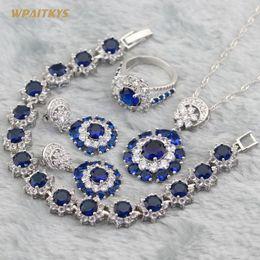 Blue Women's Jewelry Sets - Wholesale AAA White Zircon Round Stone Silver Plated Pendant Drop Earrings Ring Bracelet For Women Size 6-10