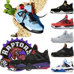 Nike AIR Jordan Retro 4 Travis Scott x 4s HOUSTON Cactus Jack Raptors zapatos de baloncesto 4s Pure Money Royalty Black Cat mens Zapatillas de deporte al aire libre zapatillas deportivas