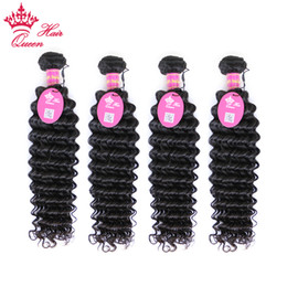 "Queen Hair Products Brazilian Curly Virgin Hair Extensions Mixed Length 4 pcs lot DHL Free Shipping Brazilian Deep Wave 12""-28"""