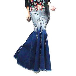 Spring and Autumn Bohemia Vintage Fashion Slim Tassel Mermaid Fishtail Pleated Ladies Jeans Denim Long Maxi skirts Womens