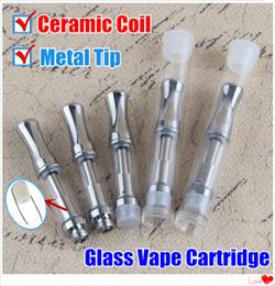 Hottest Ceramic Coil Glass Vaporizer Tanks .5 .8 1ml Empty Vape Pen Cartridges Metal Tip Atomizer Stainless Steel Wickless 510 Oil Cartridge