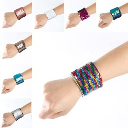 New Reversible Mermaid Sequin Bracelet Bangle Cuffs Wristband Glitter Mermaid Bracelet Bands Fashion Jewelry for Women Kids Gift 320021