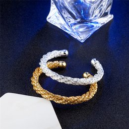 NEW 925 Silver Jewelry Cuff Bangle Fine Fashion Ellipse Finished Weaved Bangle & Bracelet For Women