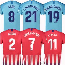 7 GRIEZMANN Madrid home red Soccer Jersey 18 19 6 KOKE Soccer Shirt Customized 8 SAUL 19 DIEGO COSTA 2 GODIN short sleeve Football uniform