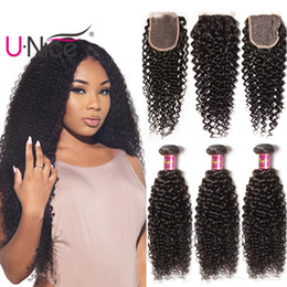 UNice Hair Peruvian Kinky Curly Wave 4 Bundles With Closure 100% Human Hair Extensions Weaves Bundle With Lace Closure Wholesale Cheap Bulk