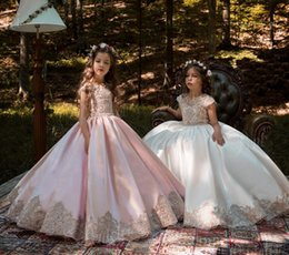Jewel Neck Girls Pageant Dresses With Capped Sleeves Flowers Girls Dresses For Weddings Button Back Princess Little Kids Communion Dresses