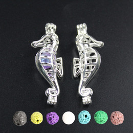 10pcs Bright Silver Sea Horse Pearl Cage Jewelry Making Supplies Alloy Beads Cage Pendant Essential Oil Diffuser Trendy Locket
