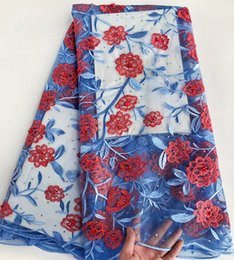 sky blue red 5 yards French Lace Fabric African bridal tulle lace fabric fresh healthy material high quality 7650