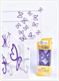 (Promotion: Buy 1 get 1 free)Hollow Butterfly 3D Wall Stickers Purple color(12pcs box)