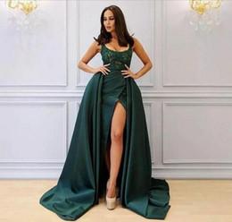 Elegant 2018 Saudi Arabia Overskirt Evening Dresses Side Split Satin Scoop Neck Beaded Lace Prom Dresses Sheath Formal Party Gowns Vestidos