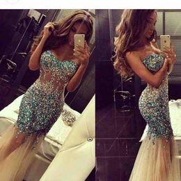 2018 New Strapless Beaded Rhinestones Mermaid Long Prom Dresses Tulle Floor Length Formal Party Evening Dresses