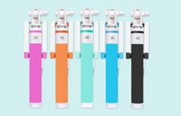 New style universal Selfie Stick Monopod Handheld Folding Audio Cable Wired built-in shutter For Taking Photoes for iPhone Samsung Huawei