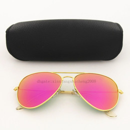 High quality Purple Glass lens Fashion Men and Women Coating Sunglasses UV400 Brand Designer Vintage Sport Polit Sun glasses With box