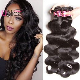 UNice Hair Brazilian Virgin Hair Body Wave 4 Bundles Remy Human Hair Extensions Wholesale Weave Bundles 8-30inch Mix Length Cheap Bulk