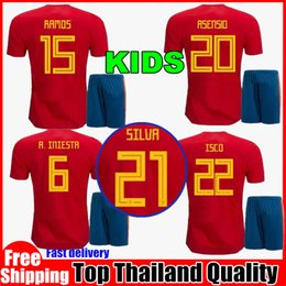 Spain kids kit Jersey 2018 RAMOS ISCO PIQUE SERGIO A. INIESTA M. ASENSIO THIAGO MORATA home Jerseys Football shirt uniforms sales Spain kits