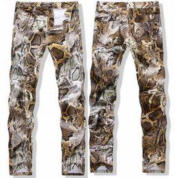 2018 Mens Snake Skin Print Camoflague Original Designer Slim Hip Hop Rock Jeans Pants Men Skinny Jeans Streetwear 29-38