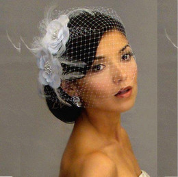 Velos de Novia Birdcage Bridal Veil Artificial Flowers White Feather Schleier Fast Free Shipping Wedding Accessories