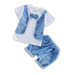 Summer Children Boys Girls Garment Fashion 2018 Baby Short Sleeve T-shirt Shorts 2 Pcs sets Kid Pure Cotton Bowknot Clothes Sets