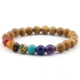 Fashion Mens Natural Wooden Beaded Root Chakra Bracelet 7 Chakra Yoga Meditation Bracelet Mala Beads Bracelets for Women