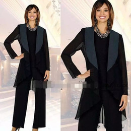 Elegant 2018 Black Chiffon Mother Of The Bride Pant Suit Satin With Collar Special Occasion Women Outfit Custom Made New Sale