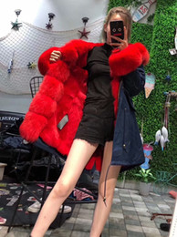 Women's Long parkas rabbit furs liner, hooded with fox collars fox cuffs and plackets winter furs coat