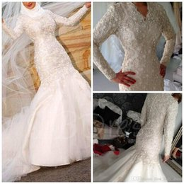 2018 Muslim V Neck Beading Lace Long Sleeve Mermaid Wedding Dresses Covered Buttons Vintage Plus Size Pakistan Middle East Bridal Gowns