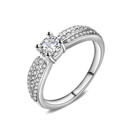 Woman Wedding Ring Real Solid 925 Sterling Silver Jewelry Ring Cubic Zirconia Engagement Ring