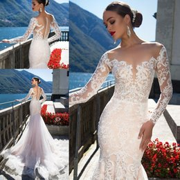Vintage Sheer Lace Mermaid Wedding Dresses 2019 Long Sleeves Button Back Tulle 3D Appliques Beach Wedding Bridal Gowns