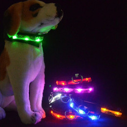 2018 Sale Time-limited Chien Perros Colorful Led Glowing Nylon Pet Collar Glitte Luminous Night Safety Flashing Dog Fluorescent S M L Xl