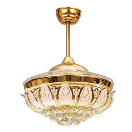 with controller living room bedroom dining room fashion crystal LED 42inch ceiling chandelier fan lights Fan chandelier