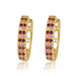Red White Cubic Zirconia Hoop Earrings Women Fashion 18K Gold Filled Round Earrings Vintage Jewelry boucle d'oreille