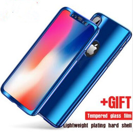 2017 360 Degree Full body Electroplate Plating Mirror Hard PC phone Case Cover For iPhone X 8 7 6 Plus with Tempered Glass Screen Protector