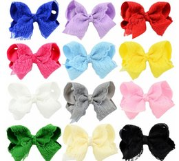 """16 Pcs lot 4"""" High Quality Handmade Solid Lace Hair Bow For Baby Girls Boutique Ribbon Bow With Clip Children Hair Accessories"""