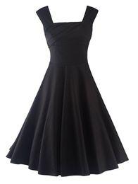 New Women OL Summer Sleeveless Black Pure Dress Fashion Plus Size Cotton Vintage Dress