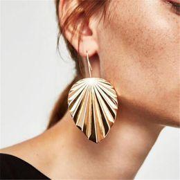3 Colors Fashion Design Vintage Silver Gold Black Metal Color Leaf Drop Dangle Statement Earrings Jewelry For Women HZ