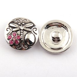 Free drop shipping 1.8-2cm alloy dragonfly fuchsia cz flower DIY button metal charms