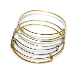 New fashion expandable steel wire bangle bracelets DIY jewelry 65mm cable wire bangle adjustable charm love bracelet