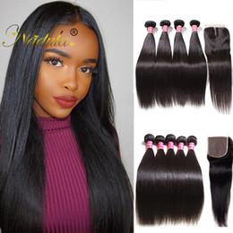 Nadula Peruvian Hair Extension Cheap Human Straight Hair Weave Brazilian Hair Bundle 3Bundles With Lace Closure Remy Human Wefts Wholesale