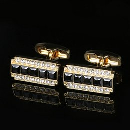 New gold color plated French cufflinks Black gemstone men's gold button European and American shirt cuffs free shipping