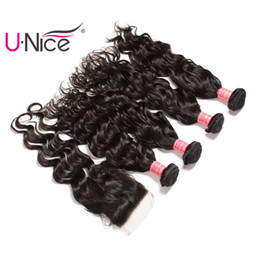 UNice Hair Wholesale Virgin Malaysian Natural Wave Bundles With Free Part Closure Human Hair Extensions Remy Hair Weave Bundles With Closure