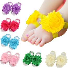 New Arrival kids Flower Sandals baby Barefoot Sandals Baby girl Foot Flower Wristband Folds Chiffon Flower baby girl shoes KFA02
