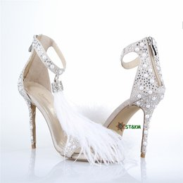 Hotsale-2018HotSeller White Feather Diamond PartyBrideDressShoesWomenHighHeelWeddingShoesS11